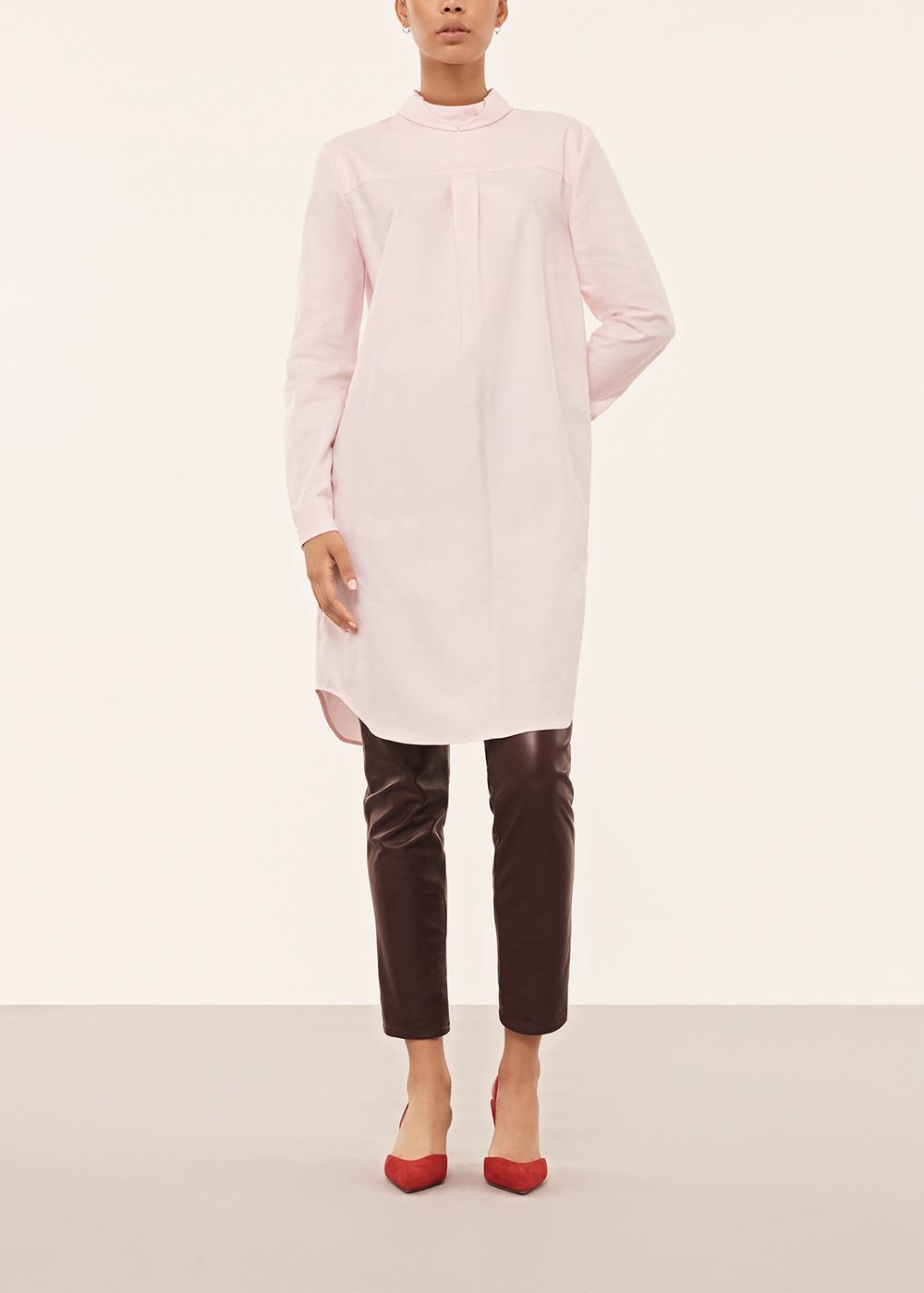 Pink Reversed Button Down Shirt Dress - Alexander Lewis