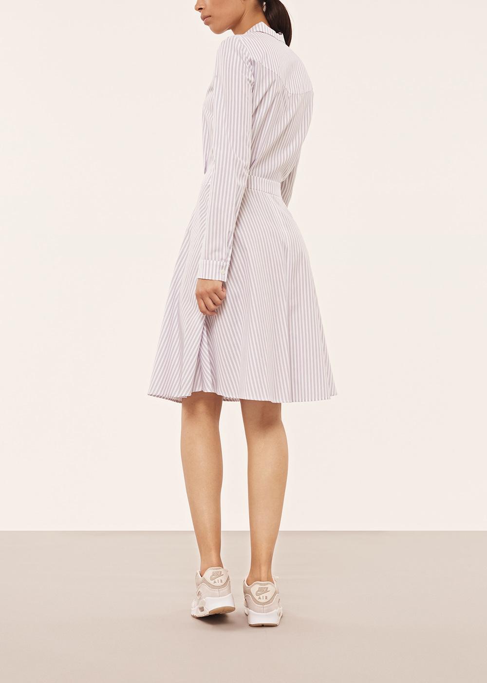 Light Blue Striped A-Line Shirt Dress - Alexander Lewis