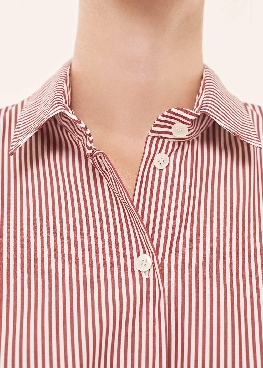 Burgundy Striped A-Line Shirt Dress - Alexander Lewis
